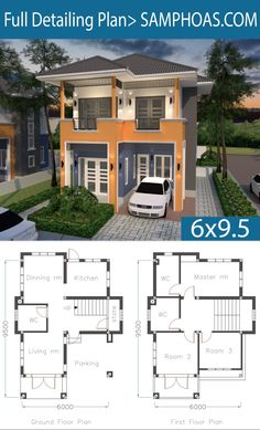 Home Plan with 3 Bedrooms – SamPhoas Plansearch Home Plan mit 3 Schlafzimmern – SamPhoas Plansearch Small Modern House Plans, Modern Small House Design, Simple House Design, House Front Design, Duplex House Plans, House Layout Plans, Dream House Plans, House Floor Plans, 2 Storey House Design