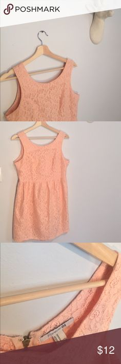 F21 Blush Lace Dress ⚜️ Sz M Blush lace dress by Forever 21. Exposed zipper. Fit and flare silhouette. Would be great with cowboy boots for a weekend cookout! ⚜️ Forever 21 Dresses
