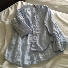 J crew long sleeve shirt Button down blue with white pin stripes has a small black mark on left front towards bottom  haven't tried getting out J Crew Tops Button Down Shirts