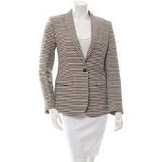 Pre-owned Burberry Prorsum Printed Button-Up Blazer (€165) ❤ liked on Polyvore featuring outerwear, jackets, blazers, pattern prints, pattern jacket, brown jacket, patterned blazer, brown blazer jacket and one button jacket