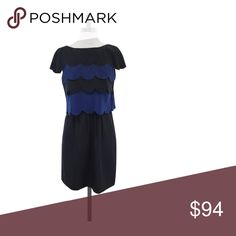 """Ali Ro- Black & Midnight Blue Scallop Trim Silk Dress Sz 8 Size 8 Black & Midnight Blue Scallop Trim Dress 100% Silk Concealed side zip Short sleeves Midnight blue accent top Some minor fraying on left side Shoulder to hem 35"""" Ali Ro Dresses Dresses"""