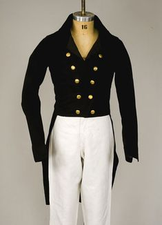 1820s    Navy Blue Wool Tail Coat, English.  Double row of gold buttons.  whitakerauction.smugmug.com