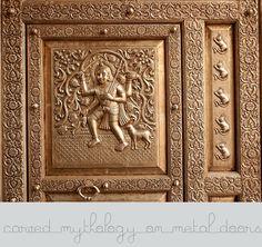 Carved Hindu-Mythology on Meatal Door; Bhairon Vilas, Bikaner, Rajasthan, India
