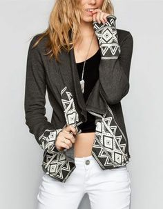 Billabong Crossroads French terry knit cardigan. Cascading open front. Tribal print trim. 60% cotton/40% polyester. Machine wash. Imported
