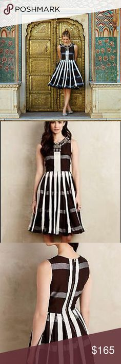 """Anthropologie """"Pleated Plaid"""" dress Maeve """"Pleated Plaid"""" dress, NWT Gorgeous, high quality dress! Zipper in back, pockets, lined, and beautiful beaded detail around neck. B: 16, W: 13, L: 40 Anthropologie Dresses"""