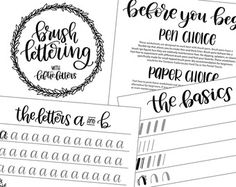 Basic Modern Calligraphy Practice Sheets by by theinkyhand on Etsy