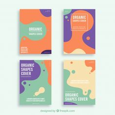 Covers collection with organic shapes Free Vector Graphic Design Posters, Graphic Design Inspiration, Typography Design, Web Design, Layout Design, Packaging Design, Branding Design, Logo Design, Mise En Page Web