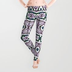 All over print geometric style retro #leggings designed by #dflcprints and produced by #society6
