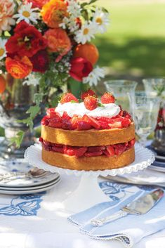 These summer-perfect recipes—which include this Strawberry Shortcake with a splash of Grand Marnier—are just in time for Fourth of July… Strawberry Shortcake Recipes, Strawberry Filling, Strawberry Tea, Strawberry Desserts, Just Desserts, Dessert Recipes, Icing Recipes, Homemade Desserts, Fudge Recipes