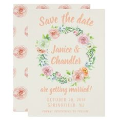 Pastel Floral Wreath Save the Date Card custom gift ideas diy
