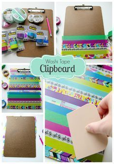 Washi Tape craft- add it to a clipboard. Take your blah brown clipboard to awesomesauce clipboard in minutes!
