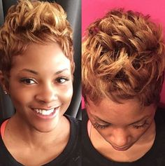 Beautiful blonde pixie by @stylesbykim__ - Black Hair Information