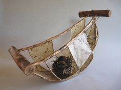 """Journey"", rattan, willow, washi, encaustic medium, 19 x 12 x 9 inches, On exhibit at Copper Moon Gallery, Taos, NM"