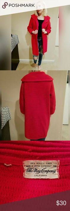 Great, VINTAGE cardigan!! Warm and comfy. Amazing color. Great condition. Brand is the May Company. No tag for size, but could fit a S-L, depending on how it's styled. 100% acrylic. Vintage Sweaters Cardigans