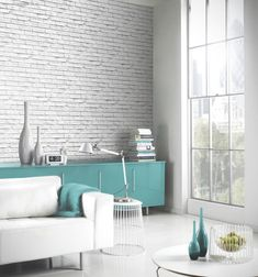 Arthouse Wallpaper: VIP White Brick Effect Wallpaper 623004 : Details and purchase options from Lancashire Wallpaper and Paint Brick Effect Wallpaper, White Brick Wallpaper, White Brick Walls, Teal Orange Wallpaper, My Living Room, Home And Living, Loft Style, Decoration, Making Ideas