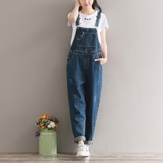 5eadee682366 Mori Girl Spring Summer Women Wide Leg Jeans Jumpsuits Casual Loose Female  Denim Overalls Vintage Washed