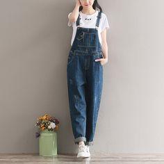 d2b96b844941 Mori Girl Spring Summer Women Wide Leg Jeans Jumpsuits Casual Loose Female  Denim Overalls Vintage Washed