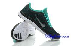 Billig Schuhe Herren Nike Free 3.0 V5 (Farbe:Vamp-schwarz,innen-grun,logo&Sohle-weiB) Online Laden.