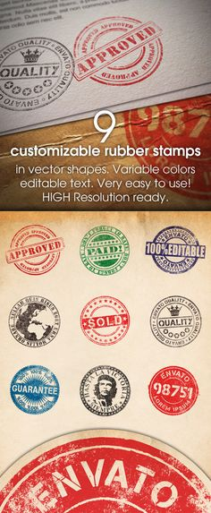 Buy 9 Customizable Rubber Stamps by dekurvajo on GraphicRiver. 9 Customizable, realistic look rubber stamps in different design. Vector shapes are in smart layers. Photoshop Video, Best Photoshop Actions, Cool Photoshop, Creative Photoshop, Photoshop Design, Passport Stamps, Grunge, Shops, Vector Shapes