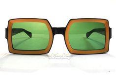 60's Italian Unisex Eccentric Swag Sunglasses w Green Glass Lenses True Vintage Square Yellow Unique OOAK