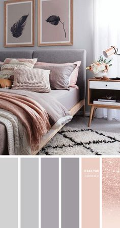 Beautiful bedroom in light gray. Grey is a flexible color, clean, understated, easy and suit nearly each style of home. In order to decor grey bedroom within feminine style pair gray with rose gold, lighting peach or blush. Grey Bedroom Colors, Grey And Gold Bedroom, Grey Bedroom Decor, Bedroom Colour Palette, Bedroom Decor For Couples, Room Ideas Bedroom, Bedroom Color Schemes, Peach Bedroom, Rose Bedroom