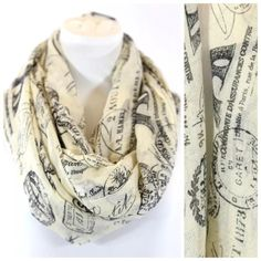 """Paris Eiffel Tower Passport Stamp Infinity Scarf Passport Stamp Scarf ‼️ PRICE FIRM UNLESS BUNDLED ‼️ Retail $64  Super fun!  Ivory & black.  100% viscose.  36"""" wide, 38"""" long.  Please check my closet for many more items including jewelry, shoes, handbags designer clothing & more! Boutique Accessories Scarves & Wraps"""