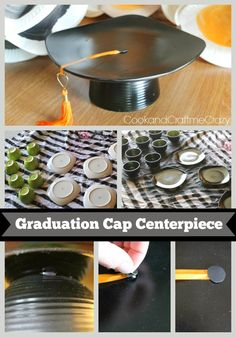 Graduation Cap Centerpieces - perfect for graduating party tables!  http://cookandcraftmecrazy.blogspot.com/2014/04/graduation-cap-centerpieces.html