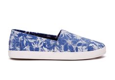 undefined Blue Suede Floral Women's Avalon Slip-Ons