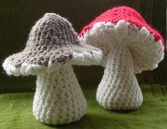 This pattern is for a mushroom or toadstool with a ribbed underneath to represent the gills. They are made in one piece, starting at the base of the stem and working upwards. The only sewing involved is for the white spots on the toadstool.
