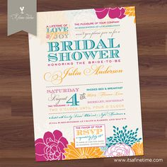 Bridal Shower Invitation - Floral Poster - Vintage Typography - teal, fuschia, orange, pink, Wedding (DIY Digital Printable). $18.99, via Etsy.