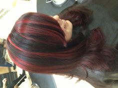 Fun hair. Black with bold red highlights by Joanna