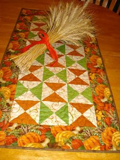 Autumn Pumpkins Quilted Table Runner by NeedleLove2 on Etsy, $35.00