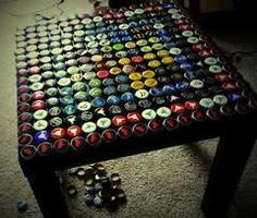 If you enjoy a lot of bottled drinks, decorate your table with all the caps!  ...as much as I like old fashioned root beer I don't know if I could drink that much. Good luck!
