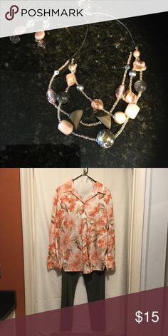 b5138c93a555b Chico s Necklace and earings Chico s Necklace and earings peach and olive  combination colors sold with outfit shown — Bundle all 3 and you are ready  to hit ...