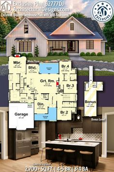 Plan Exclusive Modern Farmhouse Plan with Split Bedrooms Architectural Designs Exclusive Fa Country House Plans, New House Plans, Small House Plans, House Floor Plans, 4 Bedroom House Plans, Dream Home Design, My Dream Home, House Design, Dream Home Plans