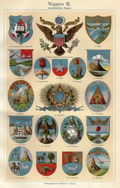 "Meyers's Lexicon - 1913  - ""COATS OF ARMS - AMERICA"" - Chromolithograph"