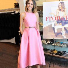 Vestido caixilhos o pescoço de verão bonito sem mangas, marca meados de bezerro sólida vestido rosa