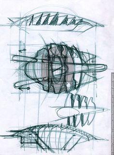 Santiago CALATRAVA // Эскизы - Эскизы крытого теннисного корта.
