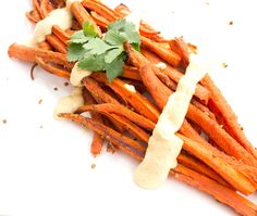 Cumin and Coriander Roasted Carrots with Hummus Sauce | heartbeet kitchen