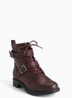 ef86be3d95e0d Plus Size Faux Leather Hardware Combat Boots (Wide Width)