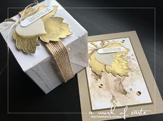 Vintage Leaves Card and Gift Box featuring Watercoloring and Faux Metal Embossing | A Work of Carte