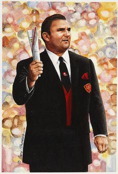 """Hank Stram artwork for """"Goal Line Art"""" by Gary Thomas."""