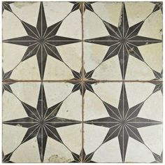 Home Furnishings  Merola Tile Star Nero 17-5/8 in. x 17-5/8 in. Ceramic Floor and Wall Tile (11.1 sq. ft. / case)-FPESTRN - The Home Depot