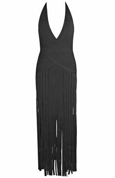 Dream it Wear it - Halter Fringe Evening Bandage Dress Black, $151.39 (http://www.dreamitwearit.com/halter-fringe-evening-bandage-dress-black/)