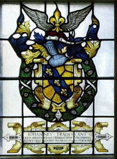 Stained glass windows in the Museum of the History of Science, showing the coat of arms of John Tradescant.