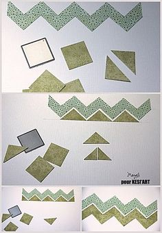 How to make chevron stripes from squares - the site is in French but you get the idea from this photo.