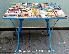 Mesa em decoupage com folhas de revista