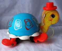 Vintage  Fisher Price Turtle Pull Toy that Chimes # 773