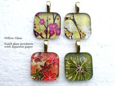 Fused Glass Pendants pack of 4  with Japanese Washi por WillowGlass