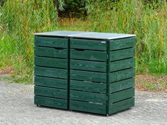 Mülltonnenbox Holz - Holzweise Garbage Can Shed, Garbage Containers, Wood Pallets, Pallet Wood, Outdoor Furniture, Outdoor Decor, Outdoor Storage, Decoration, Planters